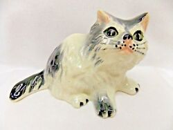 Black & White Gloss Longhair Sitting Cat Porcelain Figurine 6 In L Nice Detail