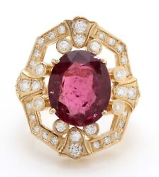 8.90 Carat Natural Rubellite And Diamonds In 14k Solid Yellow Gold Women Ring