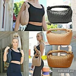 Women#x27;s Woven Hobo Bag Knotted Top Handle Handbag Hand Braided Clutch Purse $32.99