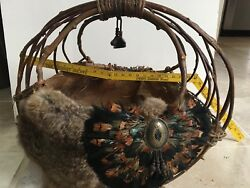 Cherokee Indian Nc Unique Traditional Lg Basket Twigs Feathers Fiber