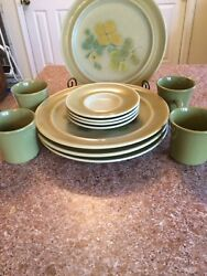 Old Antique 12 Pc Franciscan Earthenware Pebble Beach 79-73 Dinnerware