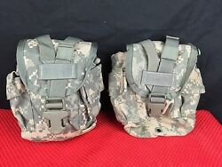 Lot Of 2 - Us Military Acu Molle Ii Canteen / General Purpose Pouch - Euc