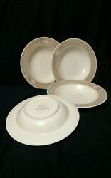Mikasa Intaglio Meadow Sun Rimmed Soup Bowl Cac02 Taupe Tulips 9-1/4 Set Of 4