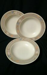 Mikasa Intaglio Meadow Sun Rimmed Soup Bowl Cac02 Taupe Tulips 9-1/4 Set Of 3