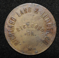 Richland Land And Lumber Co Riceboro Georgia Good For 50 Cents Merchandise Token