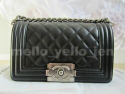 NEW Chanel Black Lambskin Small Boy Quilted Flap Bag Ruthenium Hardware Classic