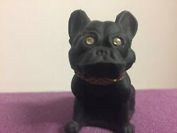 ORIGINAL SATIN GLASS BLACK FRENCH BULLDOG FIGURINE