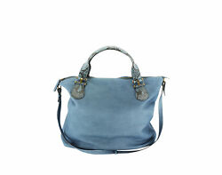 New Authentic Gucci Large Python Handle Women's Bag Blue Leather Totes