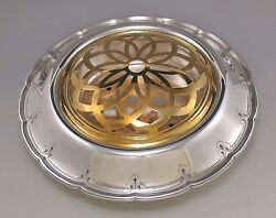 Elegant And Co Sterling Silver Center Bowl With Orig Insert And Flower Frog