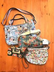 NWT Cath Kidston Lot Coated Canvas Purse Floral Shoulder Crossbody