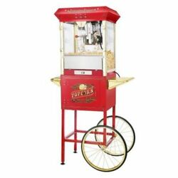 Great Northern Popcorn Red Antique Style Popcorn Popper Machine With Cart 8 Oz
