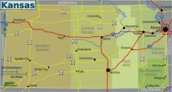 Kansas State Road Map Glossy Poster Picture Photo Print City County Topeka 3341