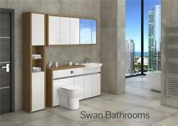 Oak / White Gloss Bathroom Fitted Furniture With Wall Units 1950mm