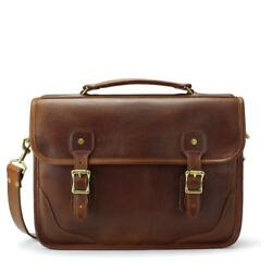 Leather Briefcase Attache Catalog Case Lawyer Womens Mens Messenger Bag Laptop