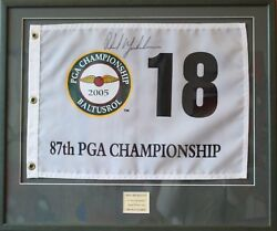 phil Mickelson Signed And Framed 18th Hole Flag Pga Championship 2005