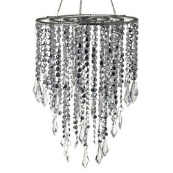 Hanging Beaded Chandelier With Icicle Crystals Silver 10-1/2-inch