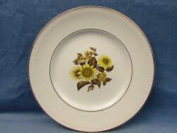 Sunflower By Royal Warwick Dinner Plate Yellow Brown Sunflowers Ribbed Rim L28