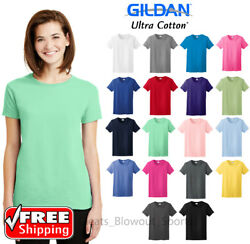 Gildan Womens Ultra Cotton T-Shirt Comfort Heavy Weight Ladies Blank Color 2000L $7.47