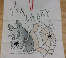 Scotty Scottie Dog BLACK SCOTTISH TERRIER  Laundry Bag EMBROIDERY VINTAGE