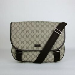 Gucci BeigeEbony GG Plus Coated Canvas Messenger Bag with 2 Buckles 201732 8588
