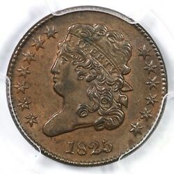 1825 C-2 Pcgs Ms 63 Bn Classic Head Half Cent Coin 1/2c