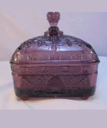 Vintage Amber Glass Footed Covered Candy Dish-beehive/bee Pattern