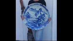 """Huge 19th Century Japanese Arita Porcelain Blue And White Charger Diameter 22"""""""