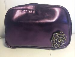 Lancome Clutch Bag Shiny Purple Cosmetic Purse with Rose Accent Makeup Bag NWOT $7.99