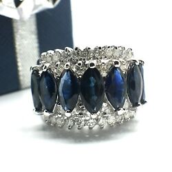 14k Solid White Gold Wide Sapphire And Diamond Ring September Birthstone