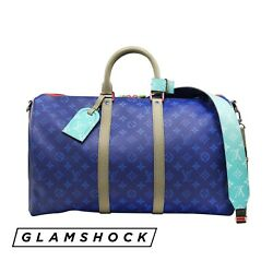 RARE LOUIS VUITTON KEEPALL 45 Monogram Pacific Turquoise Blue Outdoor Split 2018