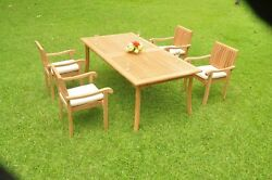 Dsnp A-grade Teak Wood 5pc Dining 117 Rectangle Table 4 Stacking Arm Chair Set