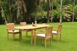 Dsnp A-grade Teak Wood 5pc Dining 94 Oval Table 4 Stacking Arm Chair Set