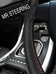 For 1949+ Rover P4 Series Black Leather Steering Wheel Cover Brown Double Stitch