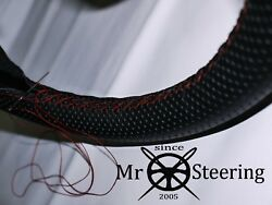 For Rover P4 1949+ Perforated Leather Steering Wheel Cover Dark Red Double Stich