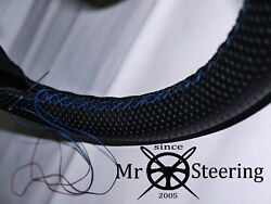 For Rover P4 1949+ Perforated Leather Steering Wheel Cover Light Blue Double Stt