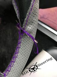 For Rover P4 Grey Perforated Leather Steering Wheel Cover 1949+ Purple Double St