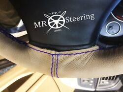 Beige Leather Steering Wheel Cover For Rover P4 Series 1949+ R Blue Double Stch