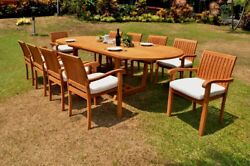 Dsnp A-grade Teak Wood 11pc Dining 117 Mas Oval Table 10 Stacking Arm Chair Set