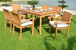 Dsnp A-grade Teak Wood 7pc Dining 60 Rectangle Table 6 Stacking Arm Chair Set