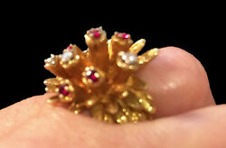 Estate Vintage Genuine 14k Gold Floral Cluster With Diamond And Ruby 6.5 Ring