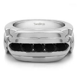 10k Solid Gold Contemporary Men's Wedding Band(1.25cw)