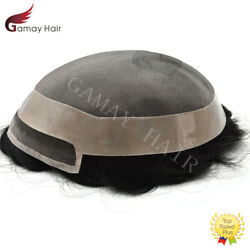 Fine Mono Mens Toupee Black Human Hair System Welded Mono Lace Poly Pu Hairpiece