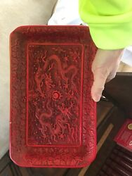 Antique Chinevery Rare Antique Chinese Cinnabar Tray With Dragons Signedse Red