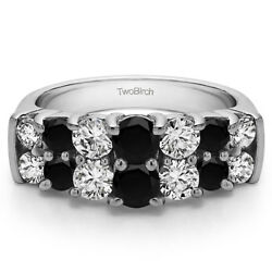 10k Solid Gold Double Shared Prong Wedding Ring(2.04Ct)