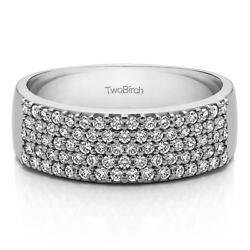 10k Solid Gold Double Row Pave Set Wedding Ring(1Ct)