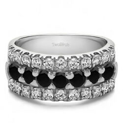 10k Solid Gold French Cut Pave Anniversary Ring(2Ct)