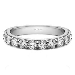 10k Solid Gold Round Pave Set Wedding Band(1Ct)