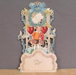 Vintage 1920s Valentines Day Antique Greeting Card 3-d Display Fold-out Germany