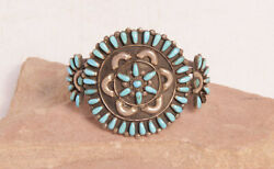 Zuni Silver And Turquoise Bracelet With Starburst By Donald And Viola Eriacho C.1970