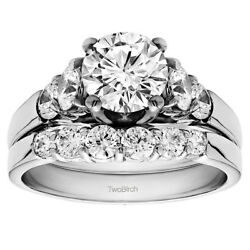 Bridal Set(engagment ring and matching band) set in Gold With Moissanite(1.94tw)